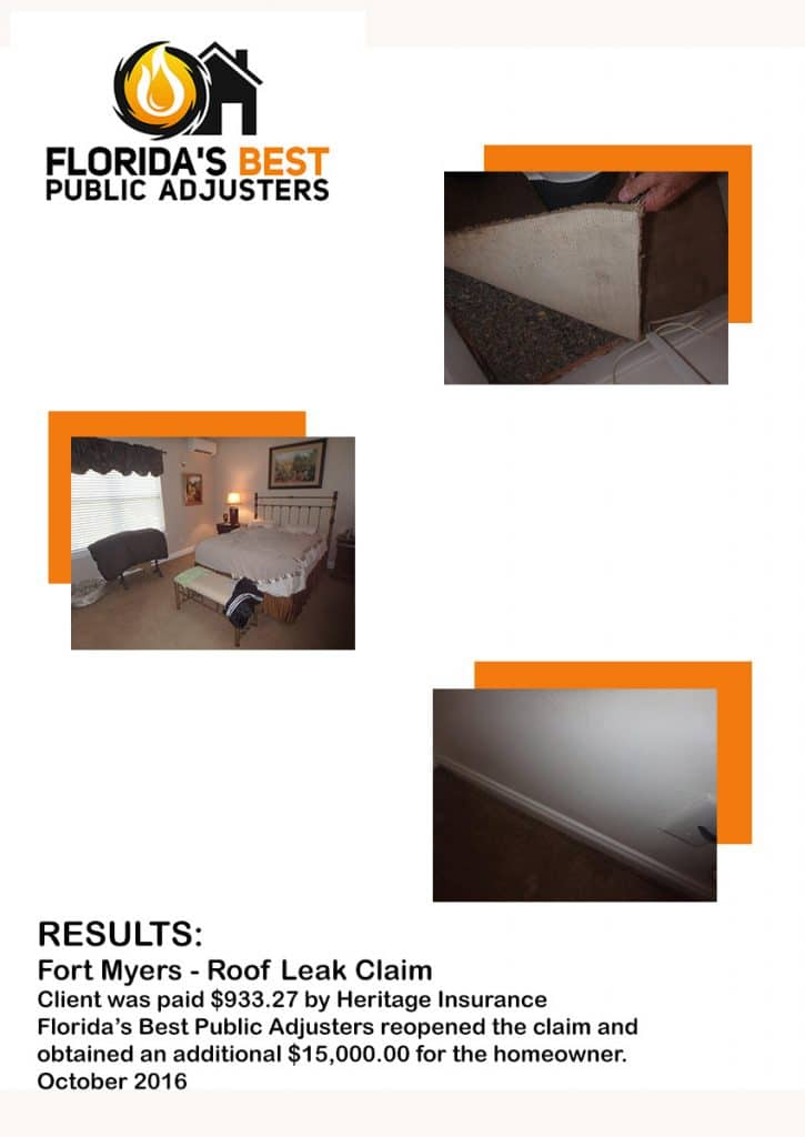 Fort Myers Roof Leak Claim