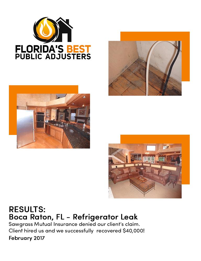 $40,000 Refrigerator Leak Claim South Florida