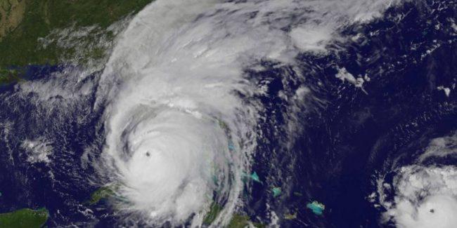 Hurricane covering Florida peninsula satellite image