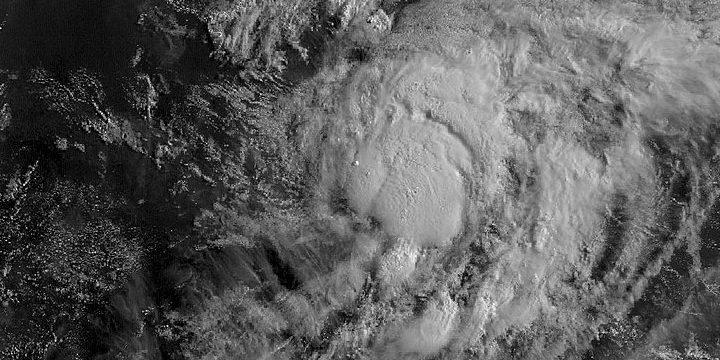 Hurricane Isaias overhead view